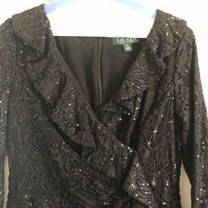 Ralph Lauren Sequin and Lace Dress. Long Sleeve.